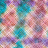 Hand painted checkered pattern on linen fabric Stock Photo