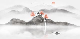 Hand painted Chinese ink landscape painting. On the vast land, the hazy distant mountains are shrouded with a layer of gauze. At the junction of mountains and