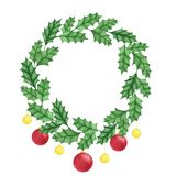 Hand painted christmas holly wreath with balls isolated on the white background. New Year decoration Royalty Free Stock Photos