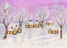 Winter landscape, painting Stock Photos