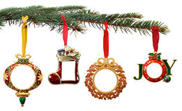 Hand Painted Christmas Ornaments Hanging on a Tree Royalty Free Stock Image