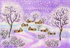 Winter landscape in purple colours, painting. Hand painted Christmas picture, winter landscape with houses and trees in purple colours, used watercolour, gouache vector illustration