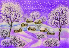 Winter landscape in purple colours, painting. Hand painted Christmas picture, winter landscape with houses and trees in purple colours, used watercolours royalty free illustration