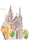 Hand painted church in Munich. Watercolor gothic cathedral sketch and Munich lettering Stock Photo