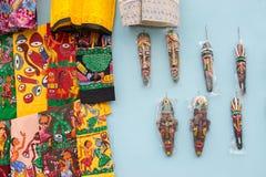Hand painted cloths and masks, handicraft items on display , Kolkata Stock Image