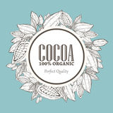 Hand painted cocoa wreath botany illustration. Decorative doodle of healthy nutrient food. Stock Images