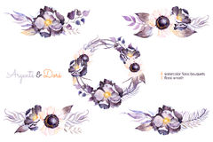 Hand painted collection with watercolor bouquets and wreath Royalty Free Stock Photos