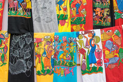 Hand painted colorful cloths, handicraft items, Kolkata Royalty Free Stock Images