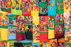 Hand painted colorful cloths, handicraft items, Kolkata Royalty Free Stock Photos