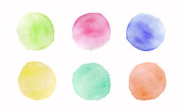 Hand painted colorful watercolor circles set on white background.  Royalty Free Stock Photos