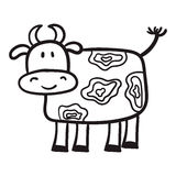 From the hand-painted cow in a cartoon style, the primitive subjects of agriculture, black contour on white background Stock Image