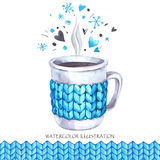 Hand painted cup of hot drink with knitting seamless border. Lovely winter time. Royalty Free Stock Photos