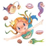 Hand painted cute little mermaid with fishes and sweets, watercolor illustration clipart set. Hand painted cute little mermaid, with fishes and sweets Royalty Free Stock Photography