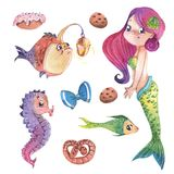 Hand painted cute little mermaid with fishes and sweets, watercolor illustration clipart set. Hand painted cute little mermaid, with fishes and sweets Stock Images