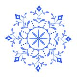 Hand painted Decorative Watercolor Snowflake. Illustration. Christmas, Christmas Ornament, Decoration, Watercolor Painting, Ice Crystal royalty free illustration