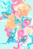 Hand painted decorative wavy blot poster Stock Images