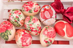 Hand painted and decoupage decorated Easter eggs Stock Photography