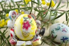 Hand painted decoupage Easter egg Royalty Free Stock Images