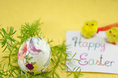 Hand painted decoupage Easter egg Royalty Free Stock Photography