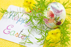 Hand painted decoupage Easter egg Stock Photos