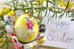 Hand painted decoupage Easter egg on a stand Stock Photography