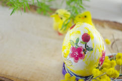 Hand painted decoupage Easter egg on a stand Stock Photos