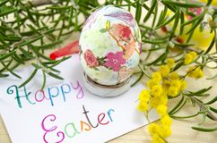 Hand painted decoupage Easter egg Royalty Free Stock Image