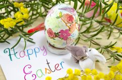 Hand painted decoupage Easter egg Royalty Free Stock Photo