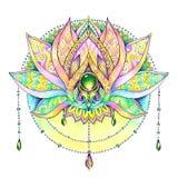 Hand painted drawing mandala, lotus Royalty Free Stock Images
