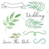Watercolor Wedding Foliage Save the Date Leaves Leaf Scroll Banner Wreath Clipart. Hand Painted and Hand Drawn elements - Watercolor Wedding Foliage pieces stock illustration