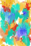Hand painted and drawn original Abstract art background, complete modern painting. Lots of brush strokes of colorful paint. Conte. Hand painted digitally created Stock Illustration