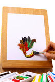 Hand painted on an easel Royalty Free Stock Images