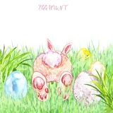 Hand painted Easter egg hunt illustration. Watercolor Easter bunny with colored eggs in garden with grass stock illustration