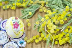 Hand painted Easter egg and mimosa Royalty Free Stock Photos