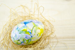 Hand painted Easter egg and straw nest Stock Photos
