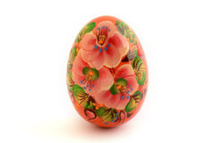 Hand painted easter egg  in white. Decorated easter egg with flowers on white background Royalty Free Stock Images