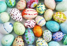 Hand painted easter eggs. Group of hand painted easter eggs; good for background Stock Images