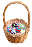 Hand Painted Easter Eggs in a Basket Royalty Free Stock Image