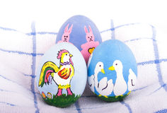 Hand painted Easter eggs in bright colors Royalty Free Stock Image