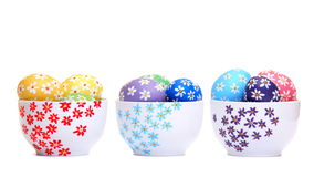 Hand painted easter eggs in ceramic bowls Royalty Free Stock Photography