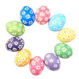 Hand painted easter eggs in circle Royalty Free Stock Photo