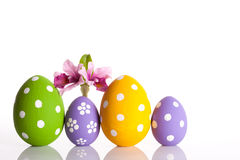 Hand painted Easter eggs and flower Royalty Free Stock Image
