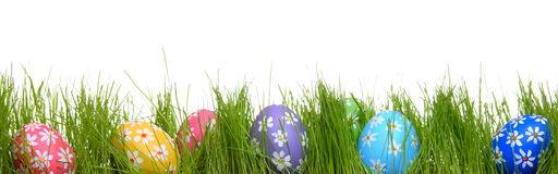 Hand-painted Easter eggs hidden in the grass Royalty Free Stock Photos
