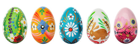 Hand Painted Easter Eggs Isolated On White. Spring Patterns Stock Image