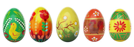 Hand painted Easter eggs isolated on white. Spring patterns Stock Photo