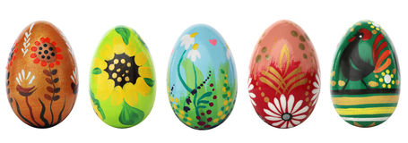 Hand painted Easter eggs isolated on white. Spring patterns Stock Photos