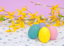 Hand painted Easter Eggs in pastel colors Royalty Free Stock Photography