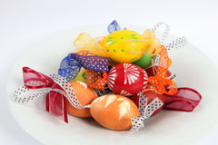 Easter eggs. Hand painted Easter eggs with ribbons royalty free stock photo
