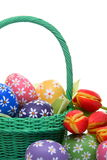 Hand painted easter eggs with tulips Royalty Free Stock Image
