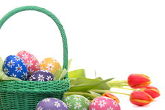 Hand painted easter eggs with tulips Stock Image